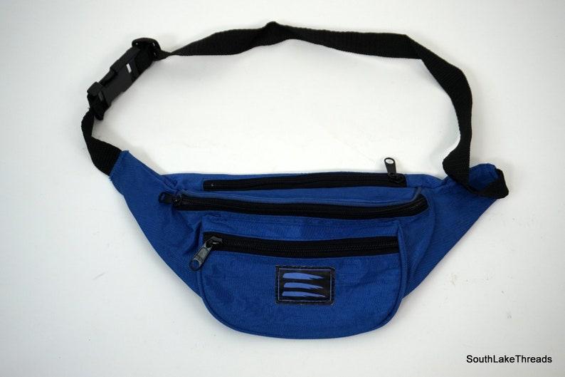 Vintage Fanny Pack Hip Bag Travel Pouch Waist USA 80s 90s Blue image 0