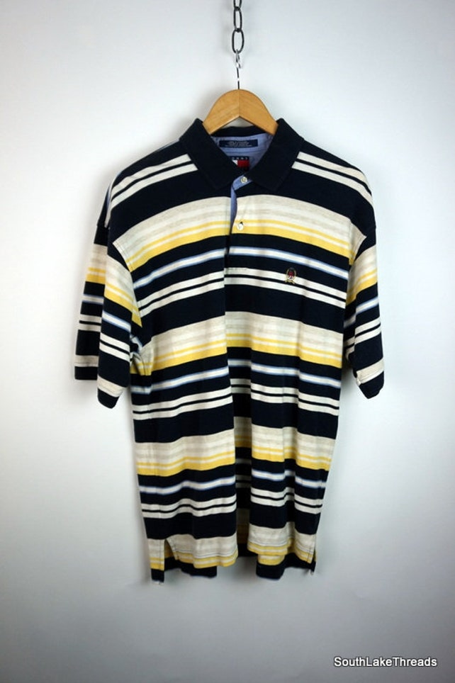 870b25d4 Vintage 90s Tommy Hilfiger S/S Striped Crest Logo Polo Shirt Men's XL Extra  Large Yellow ...