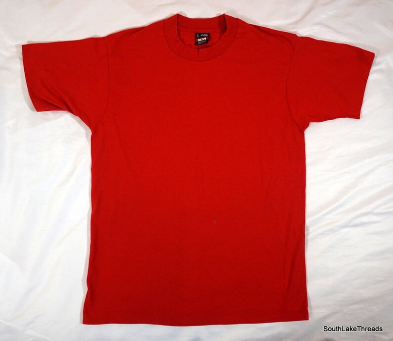 Vintage 80s Jerzees Blank T-Shirt 50/50 Made in the USA Red Sz image 0