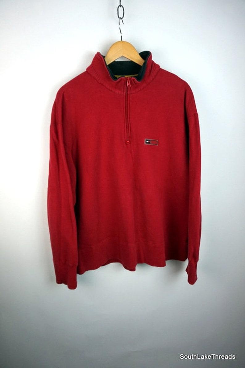 e9b3365c Vintage 90s Tommy Hilfiger Athletics 1/4 Zip Sweatshirt | Etsy