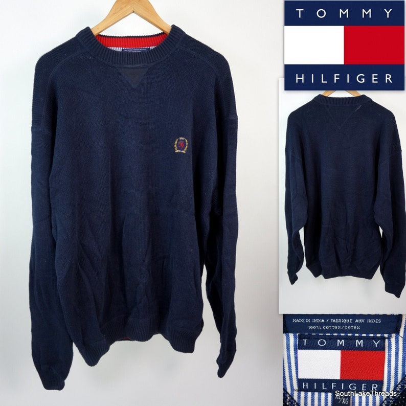 Vtg 90s Tommy Hilfiger Heavy Knit Sweater  Size Men's XL image 0