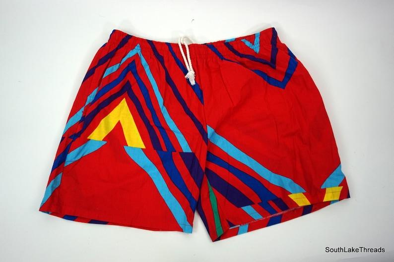 Vintage Island Image Lined Swim Trunks Swim Shorts 80s Print image 0