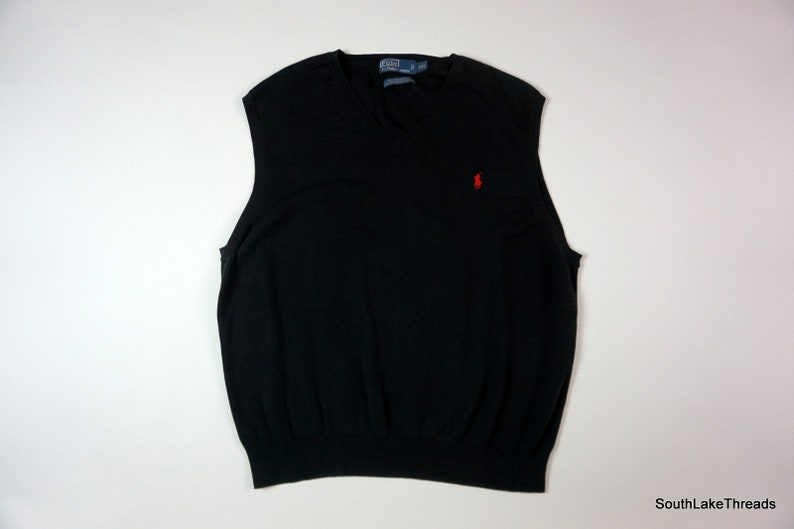 8444684b Men's Polo Ralph Lauren Sweater Vest V Neck Black Red Pima Cotton Pony Sz  XXL