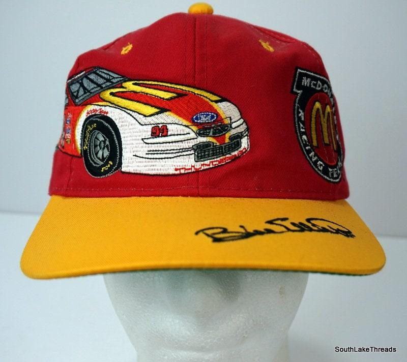 95edb7cbc VTG McDonalds Racing Team Bill Elliott 94 Snapback Trucker Hat NASCAR  Spellout Black Red OSFA
