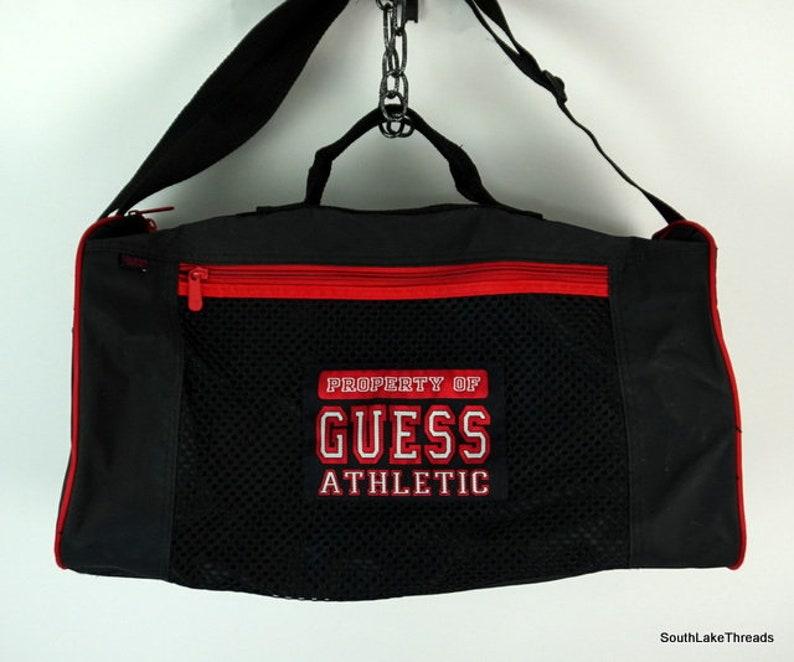 598842e728 Vintage Guess Athletic Duffel Bag Gym Bag Spellout Designer