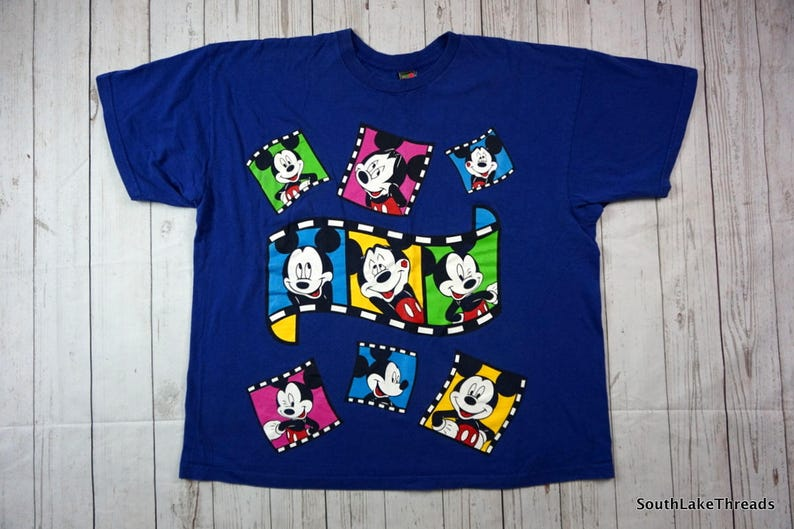 Vintage Mickey Unlimited T-Shirt Adult XL Blue Film Roll image 0