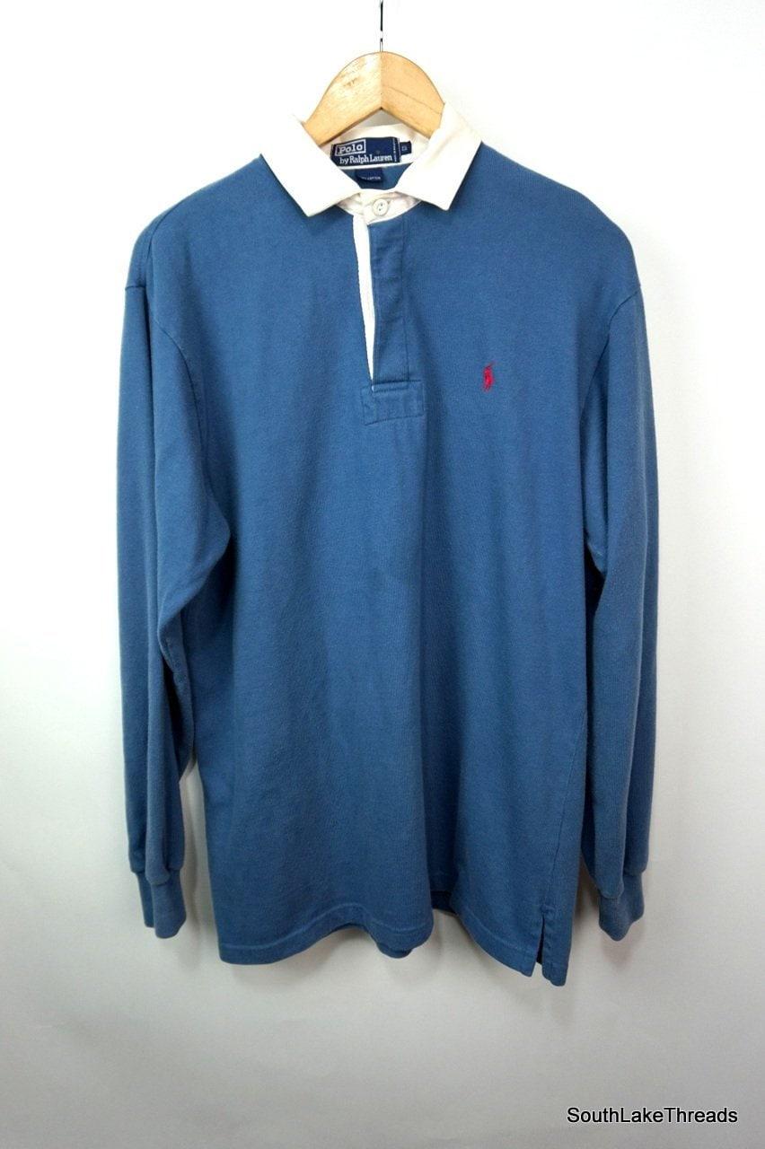 Polo par des années 90 bleu petit Ralph Lauren Long Sleeve Shirt Rugby  taille hommes couturier haute couture 35e8ecdaff9