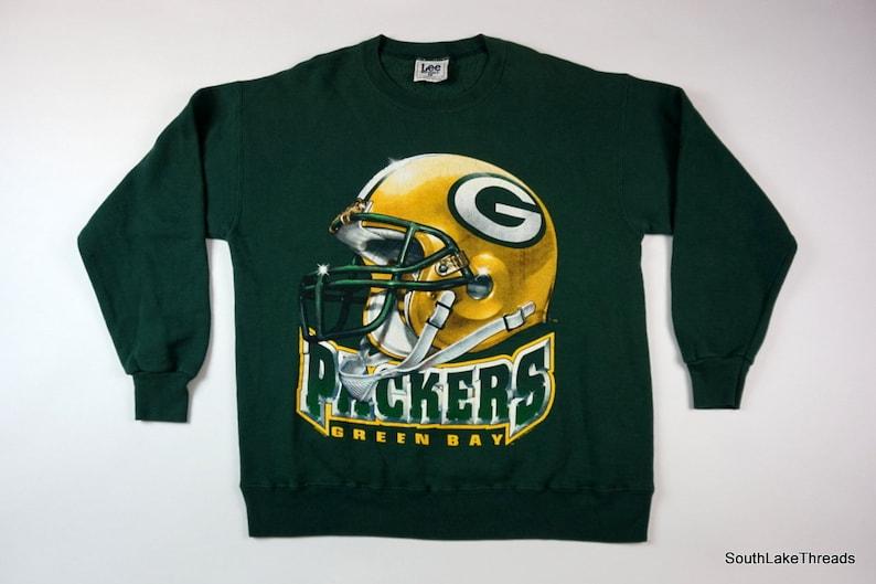 best service a8c2b 44dac VTG Green Bay Packers Sweatshirt Men's Large Helmet Spellout Logo Lee Sport  NFL Football 90s Fashion Green Yellow