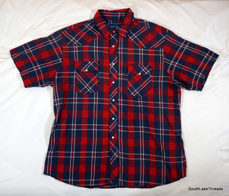 Vintage Wrangler Western Plaid Pearl Snap S/S Button Front image 0