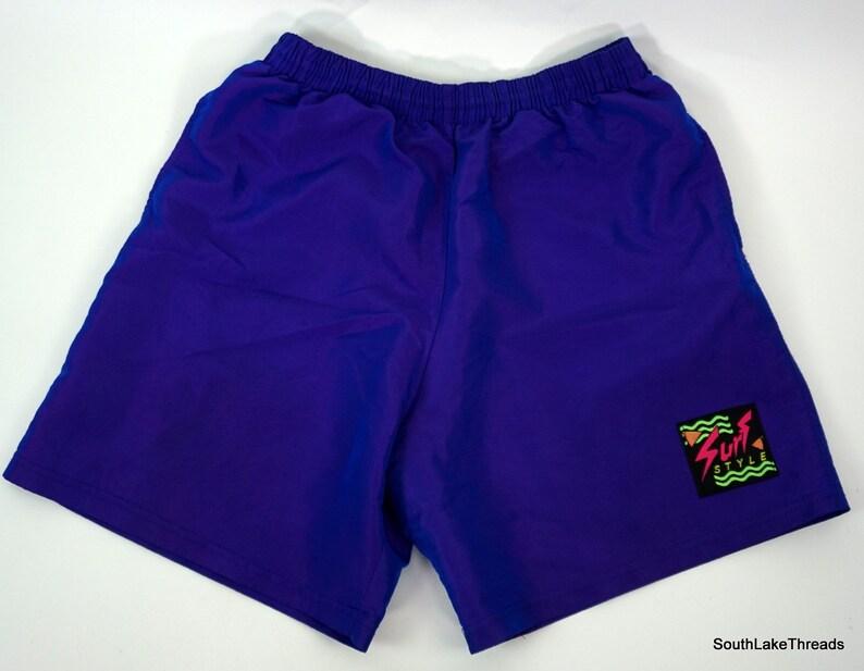 Vintage 80s Unisex Surf Style Iridescent Shorts Purple Sz image 0