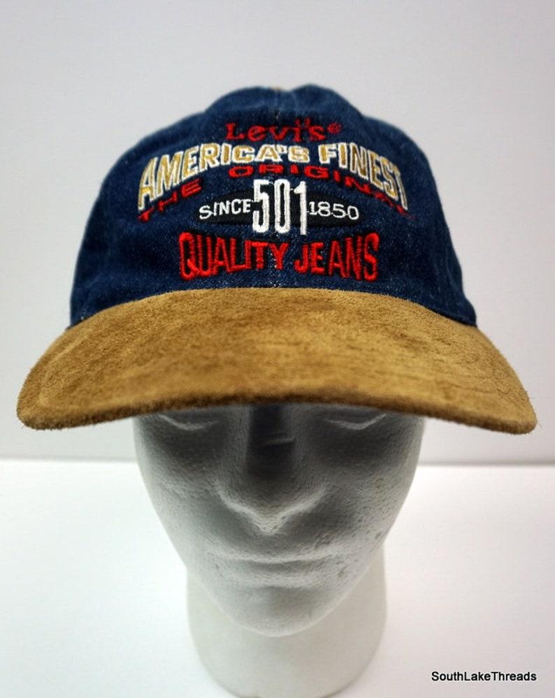 VTG Levi s 501 Denim Suede Baseball Cap Dad Hat Leather  e0b617fdca2