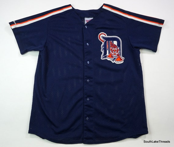 check out 3c486 abe67 Vintage Majestic Men's MLB Detroit Tigers Diamond Collection Jersey Navy Sz  XL Extra Large Patch Logo