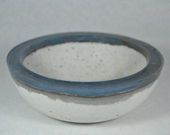 Concrete Bowl - Blue Rim | Outdoor & Indoor Patio Decor | Color Rimmed Bowl | Zen Garden | Tabletop Accent | Cement Decorative Bowl