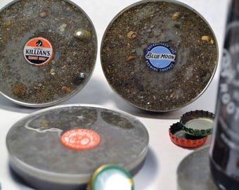 Resin Glazed Beer Cap Concrete Coasters | Beer Coasters | Bar and Patio Coasters | Beer Cement Coasters | Counter Top Decor | Groomsmen Gift