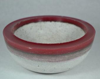 Concrete Bowl - Red Rim | Outdoor & Indoor Patio Decor | Color Rimmed Bowl | Zen Garden | Tabletop Accent | Cement Decorative Bowl