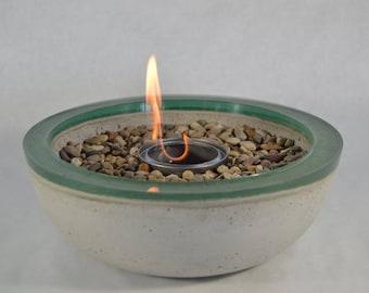 Concrete Fire Bowl - Green Rim | Fire Pit | Outdoor & Indoor Patio Decor | Color Rimmed Bowl | Fire Gel | Zen Garden | Tabletop Accent