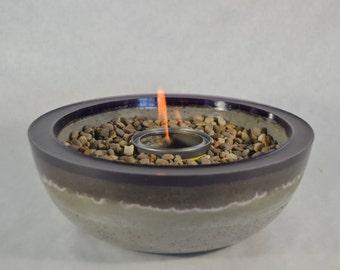 Concrete Fire Bowl - Purple Rim | Fire Pit | Outdoor & Indoor Patio Decor | Ultra Violet | Fire Gel | Zen Garden | Tabletop Accent