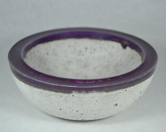 Concrete Bowl - Purple Rim | Outdoor & Indoor Patio Decor | Color Rimmed Bowl | Zen Garden | Tabletop Accent | Cement Decorative Bowl