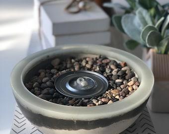 Aqua Glow Concrete Fire Bowl - Milky White Aqua Rim | Glow in the Dark | Resin Glazed | Color Glow Rimmed | Fire Gel | Tabletop Decor