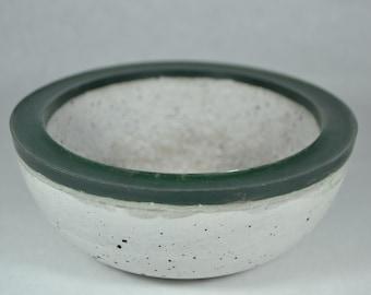 Concrete Bowl - Green Rim | Outdoor & Indoor Patio Decor | Color Rimmed Bowl | Zen Garden | Tabletop Accent | Cement Decorative Bowl