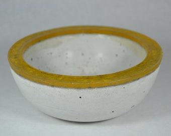 Concrete Bowl - Yellow Rim | Outdoor & Indoor Patio Decor | Color Rimmed Bowl | Zen Garden | Tabletop Accent | Cement Decorative Bowl