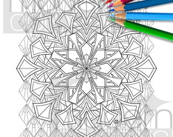 New Deco Mandala – Digital Download Coloring Page, Adult Coloring, Relaxing, Art Deco, Modern Coloring, Digi Stamp, Instant, Printable