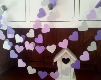 LILAC LOVE Paper Hearts Garland - Wedding, Engagement, Party, Shower, Room decoration