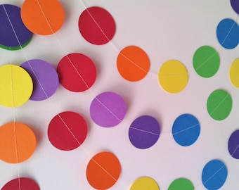 SOMEWHERE OVER THE Bright Rainbow Paper Circle Garland - Nursery, Party, Shower, Children's Room decoration.