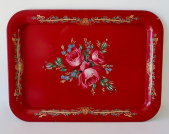 Vintage Rosy Red and Super Sweet Floral Tray