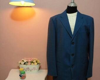 b60068f63a60 Blue Wool Jacket, Vintage Jacket, Vintage mens Blazer, 70s Mens  Blazer,Mens, Vintage Blazer, 1970s Blazer, mens formal, Mens Jackets, 70s