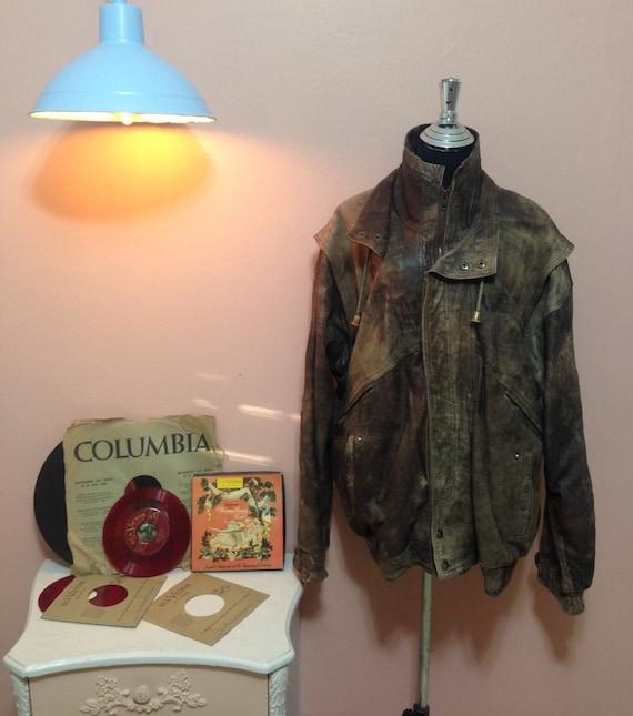 Vintage Leather Jacket, Vintage mens Coat, 70s Men
