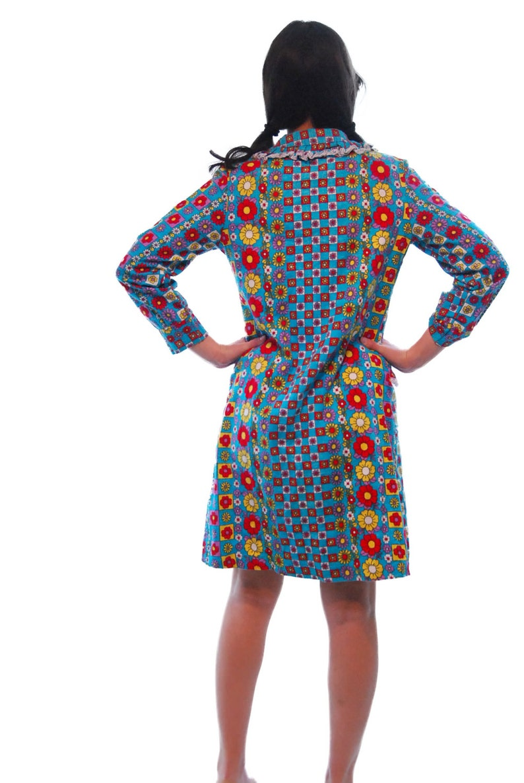 Womens  Dresses.Vintage Dress.Vintage Clothing.Blue Floral Print Vintage Dress For Women 1970s.Womens 70s.Vintage.Women Clothing.Size M
