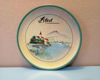 """Wall plate of """"bled"""", Wall plate, View, Decorated wall plate, Wall Hangings Plates, Plate collectors,Decorative Wall Plate, Retro Wall Art"""