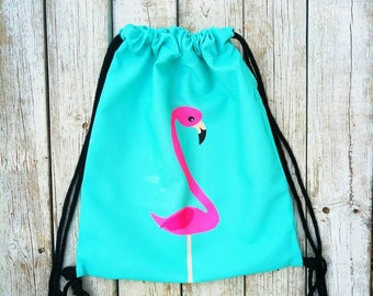 flamingo bag, backpack, Fabric backpack, light blue backpack bag, drawstring bag,drawsting tote, sack bag, Backpack, beach backpack,Backpack