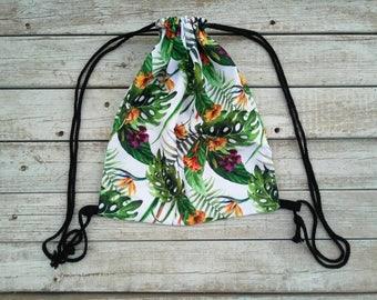 drawstring bajungle bag, backpack, Fabric backpack, light blue backpack bag,drawsting tote, sack bag, Backpack, beach backpack,Backpack