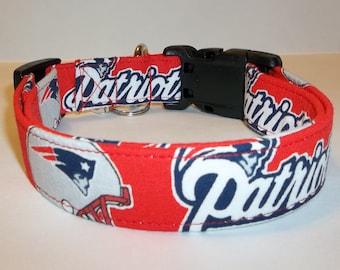 237da1ddc New England Patriots NFL Dog Collar handmade by Terri s Dog Collars  adjustable fabric red