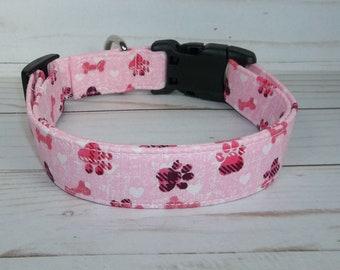 ANCHOR Terri/'s Dog Collar custom made adjustable charming Hot Pink white fabric
