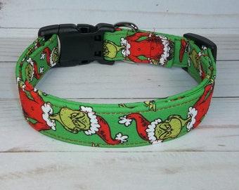 Green Grinch Who Stole Christmas fabric Dog Collar custom made by Terri's Dog Collars adjustable Santa Mean One Naughty or Nice
