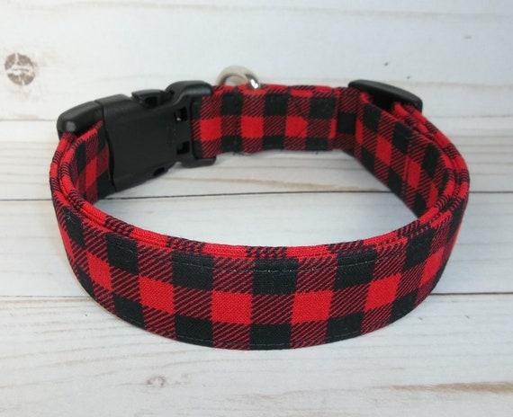 Red Black Buffalo Check Terri/'s Dog Collar custom made adjustable charming fabri