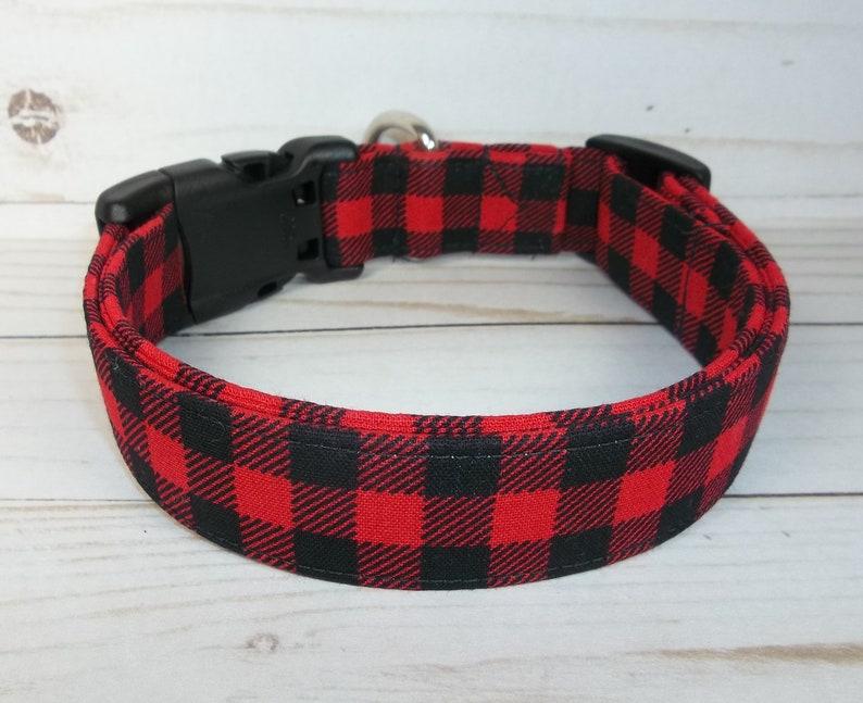 "Red Black Buffalo Check mini Plaid Winter Holiday fabric Dog Large 17 - 26"" inches"