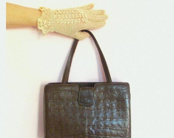Vintage 50's / 60's Dark Brown Croc Leather Handbag / Purse
