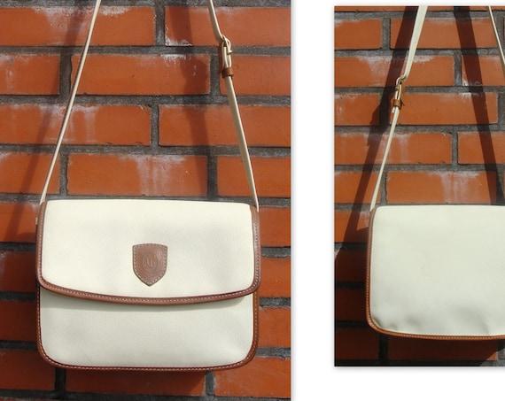 Vintage Cream Vinyl Shoulder Satchel Bag
