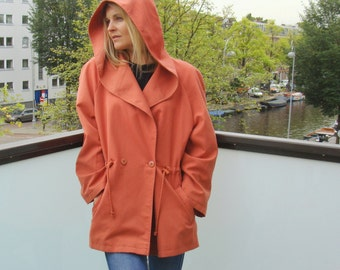 Vintage Coral Double Breasted Hooded Parka / Oversized / size 12