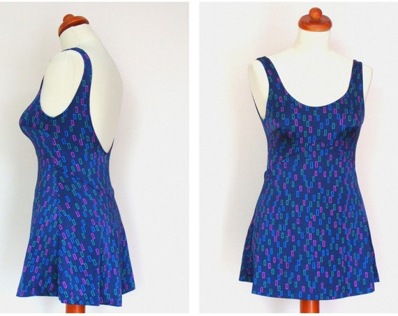 Vintage 1960's Navy Skirted Style Swimsuit / Mod / size M