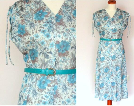 Vintage 60's / 70's Multicoloured Floral Dress / size M
