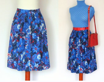 Vintage High Waisted Floral Skirt / Hibiscus Print Skirt / Size 36