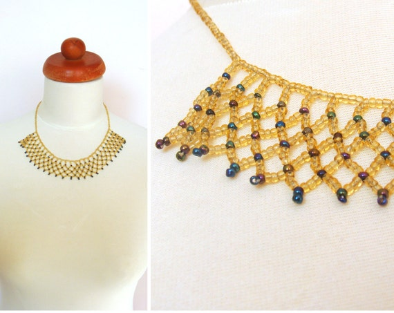 Vintage 1950's Gold Blue Glass Seed Beaded Necklace