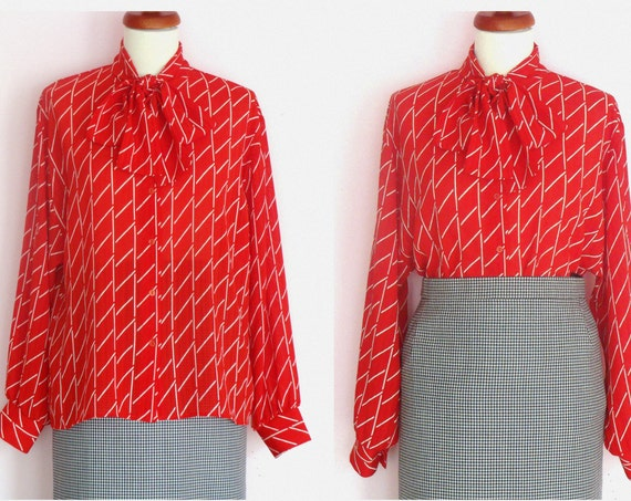 Vintage Red Button Down Bow Tie Neck Blouse / UK 14
