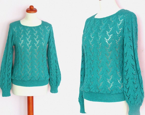 Vintage Crocheted & Knitted Long Sleeve Jumper / Handmade Sweater / Teal Green / size M