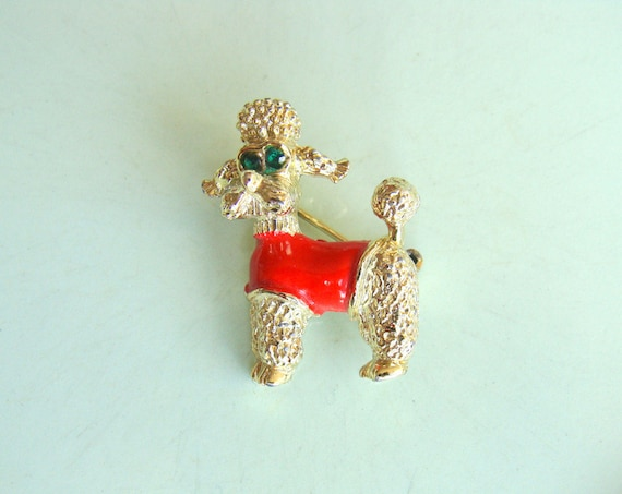 Vintage Poodle Gold Tone Brooch /Green Rhinestone Eyes / Painted Red Jacket /  Dog Brooch  / Costume Jewelry